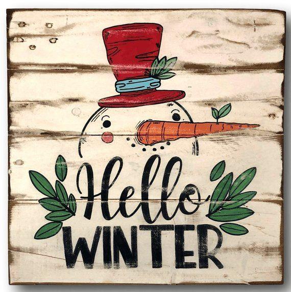 Hello Winter Sign - Winter Front Door Sign - Winter Welcome Sign - Winter Decor - Christmas Decor - Vintage Snowman Sign - Mantel Decor