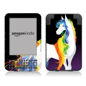 Diabloskinz Vinyl Skin/Decal for the Kindle Keyboard - Rainbow and Stars