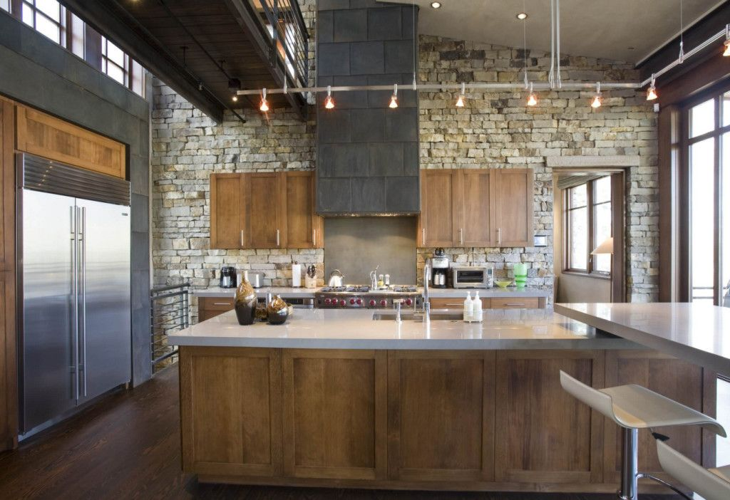 A Modern Industrial Rustic Kitchen With Wood Cabinets And Small