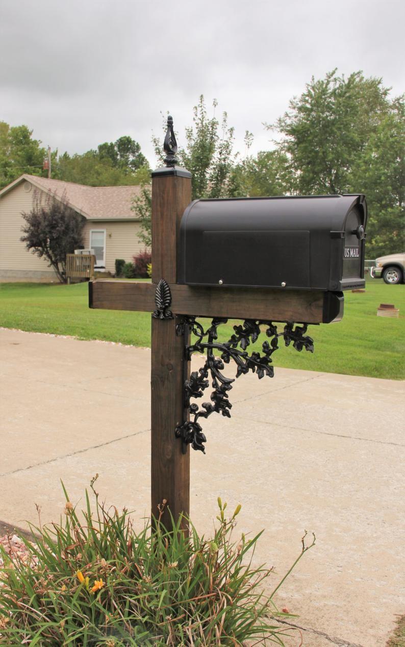 Acorn Pattern Wrought Iron Mailbox Post Dress Up Kit Mailbox Etsy In 2020 Wrought Iron Mailbox Mailbox Decor Mailbox Landscaping