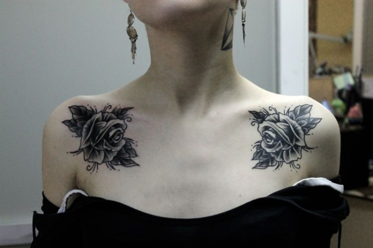 Placement And Mirror Image On Collar Bones Smaller Flowers And Dahlias Or Chrysanthamums Collar Bone Tattoo Chest Tattoo Girl Collar Tattoo