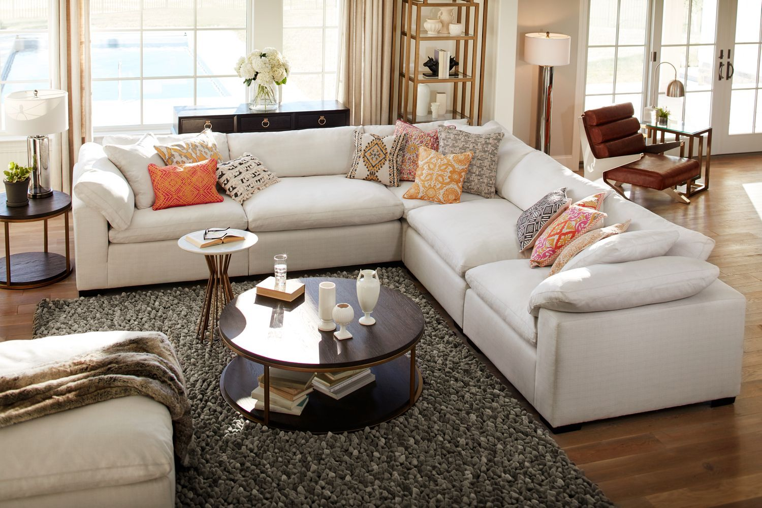 Living room furniture plush 5 piece sectional ivory