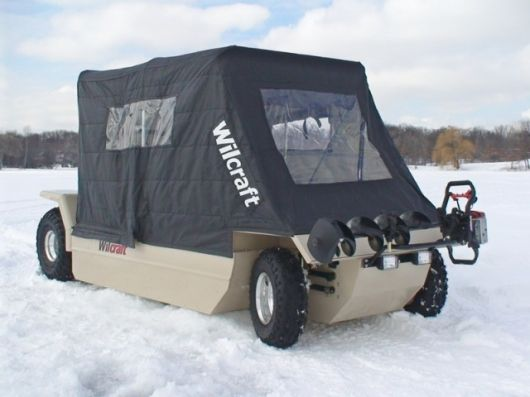 The wilcraft amphibious mobile ice fishing cabin all for Ice fishing cabins alberta