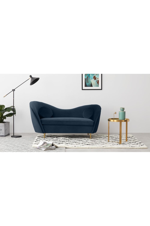 Made Sapphire Blue Velvet Chaise Longue 2 Seater Sofa Sofa Blue Velvet