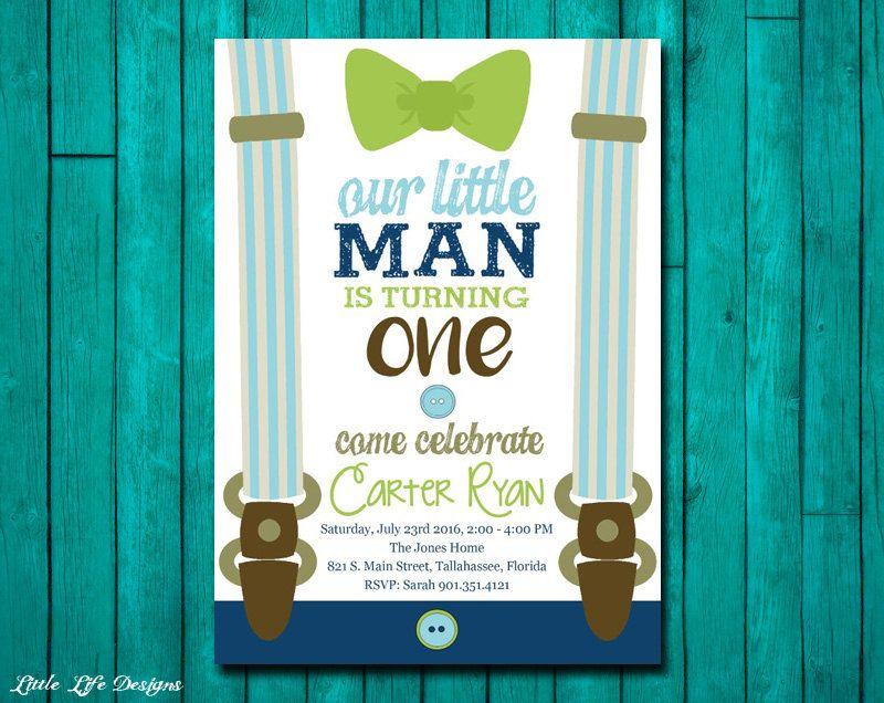 Little Man First Birthday Invitation. Little Man Party. Mustache ...