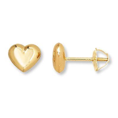 Real 14k Yellow Gold Plain White CZ Heart Screw Back Stud Earring Women Kid Girl