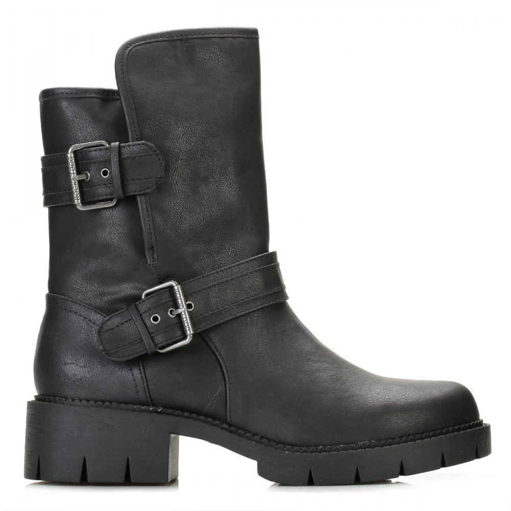 Rocket Dog Womens Black Glenn Biker Boots GLENN | TOWER London #boots  #bikerboots #