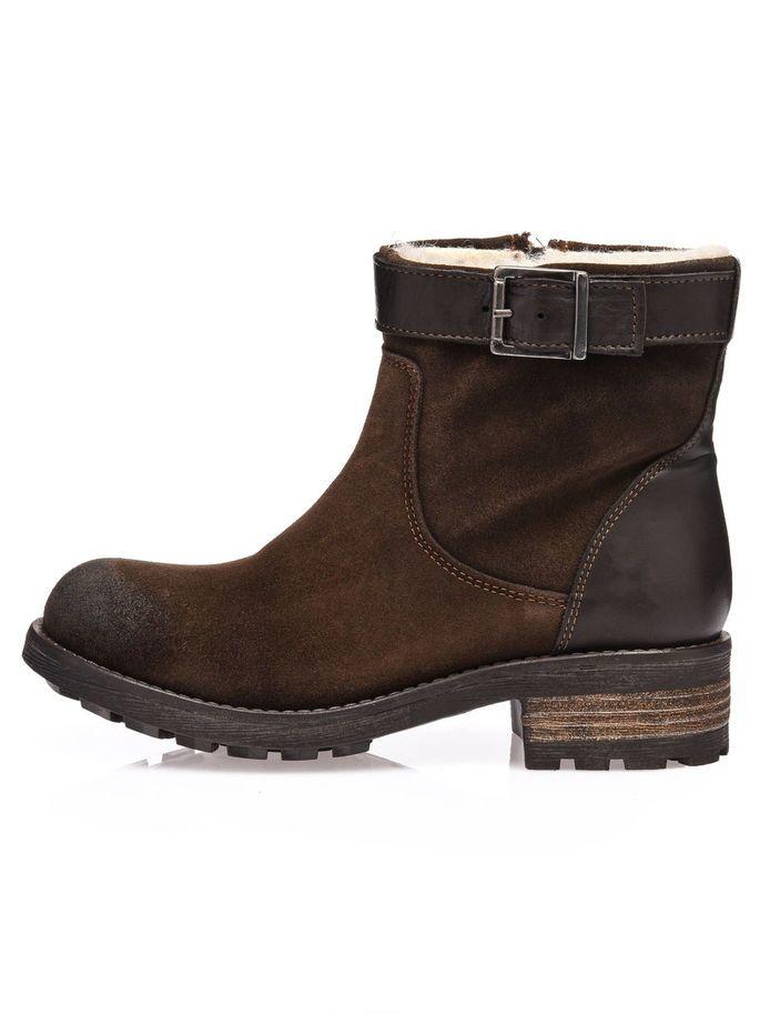WARM SUEDE BIKER BOOTS, Dark Brown, large