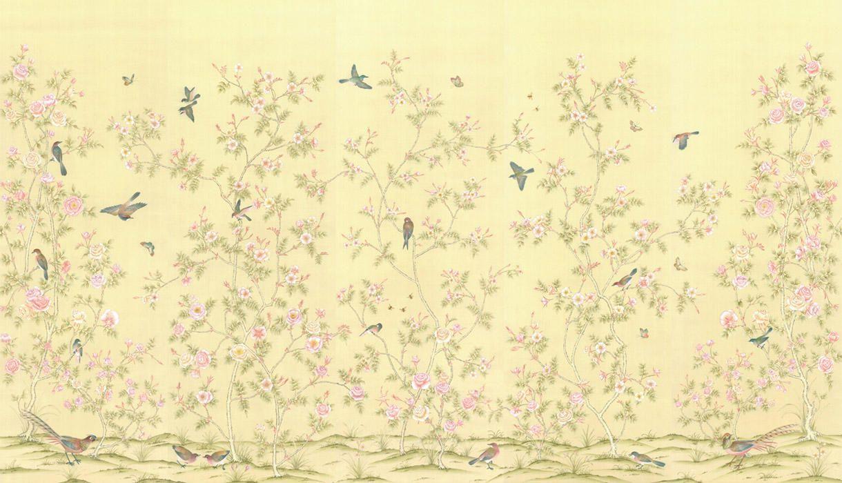 Chinoiserie Wallpaper Hand Painted Chinoiserie Wallpaper