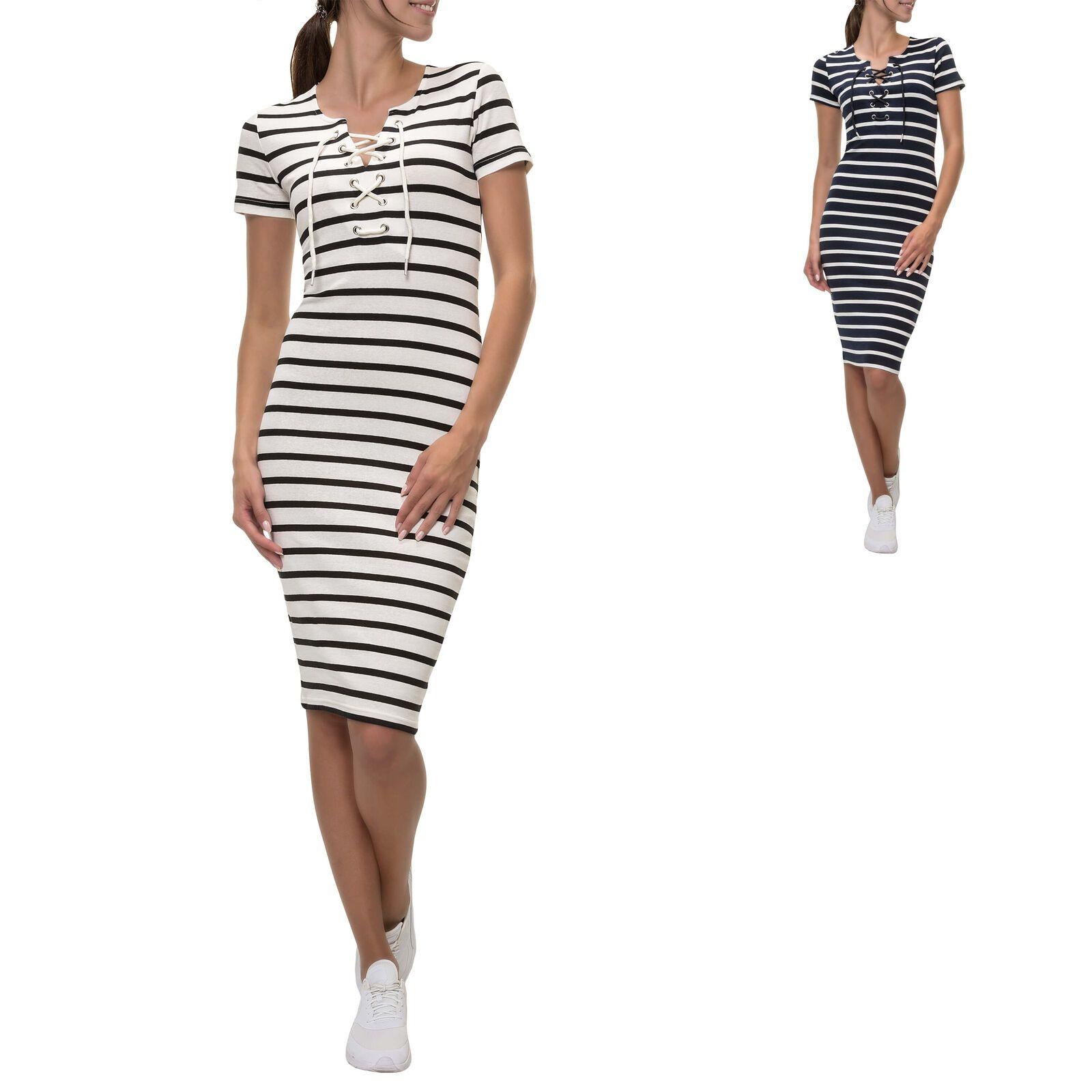 Hailys Damen Jerseykleid Etuikleid Streifen Printkleid Sommerkleid Kurzarm Shirt