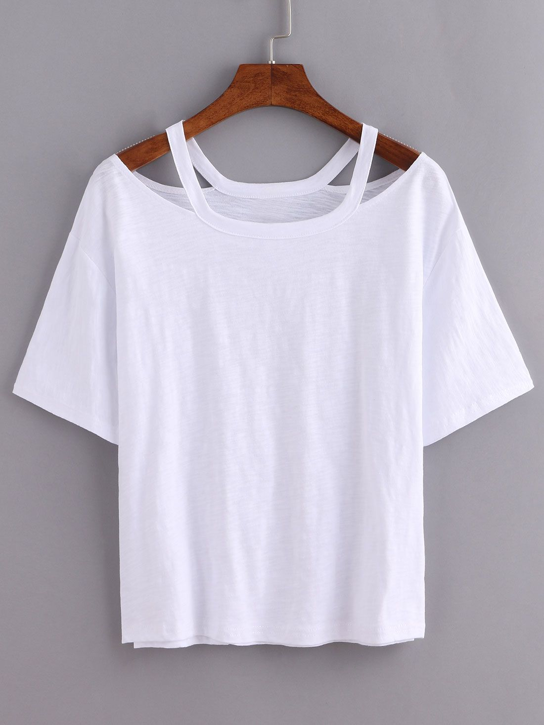 2e1127de63 Shop Cutout Loose-Fit White T-shirt online. SheIn offers Cutout Loose-Fit  White T-shirt & more to fit your fashionable needs.