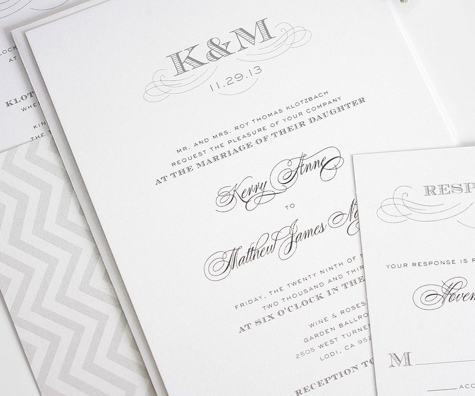 Wedding Invitations with Monogram in Gray Classic weddings