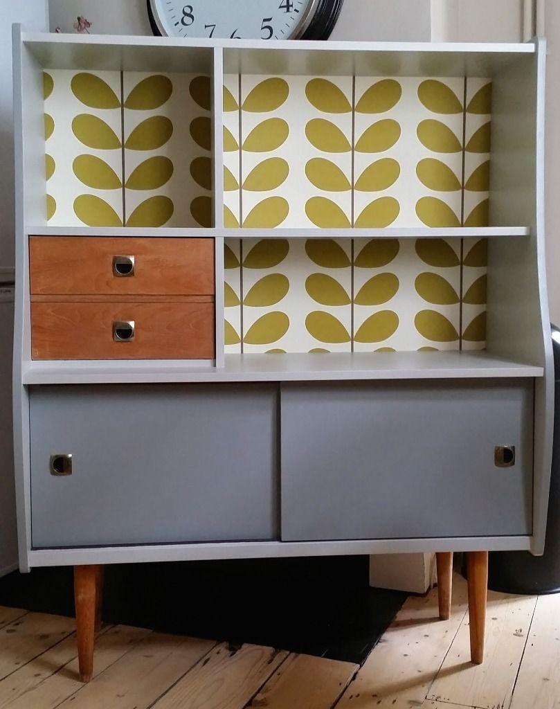 Bespoke Retro Cabinet Orla Kiely Style On Gumtree Retro Cabinet Upcycled Using Orla Kiely Classic Stem Olive Retro Cabinet Furniture Makeover Retro Furniture