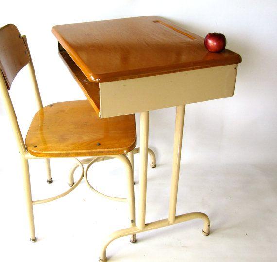 Vintage School Desk Solid Wood Top, Adult Size