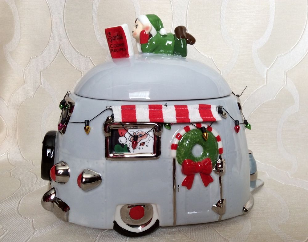 New Santa Elf Trailer Camper Christmas Cookie Jar One Hundred 80 Degrees Christmas Cookie Jars Cookie Jars Christmas Cookies