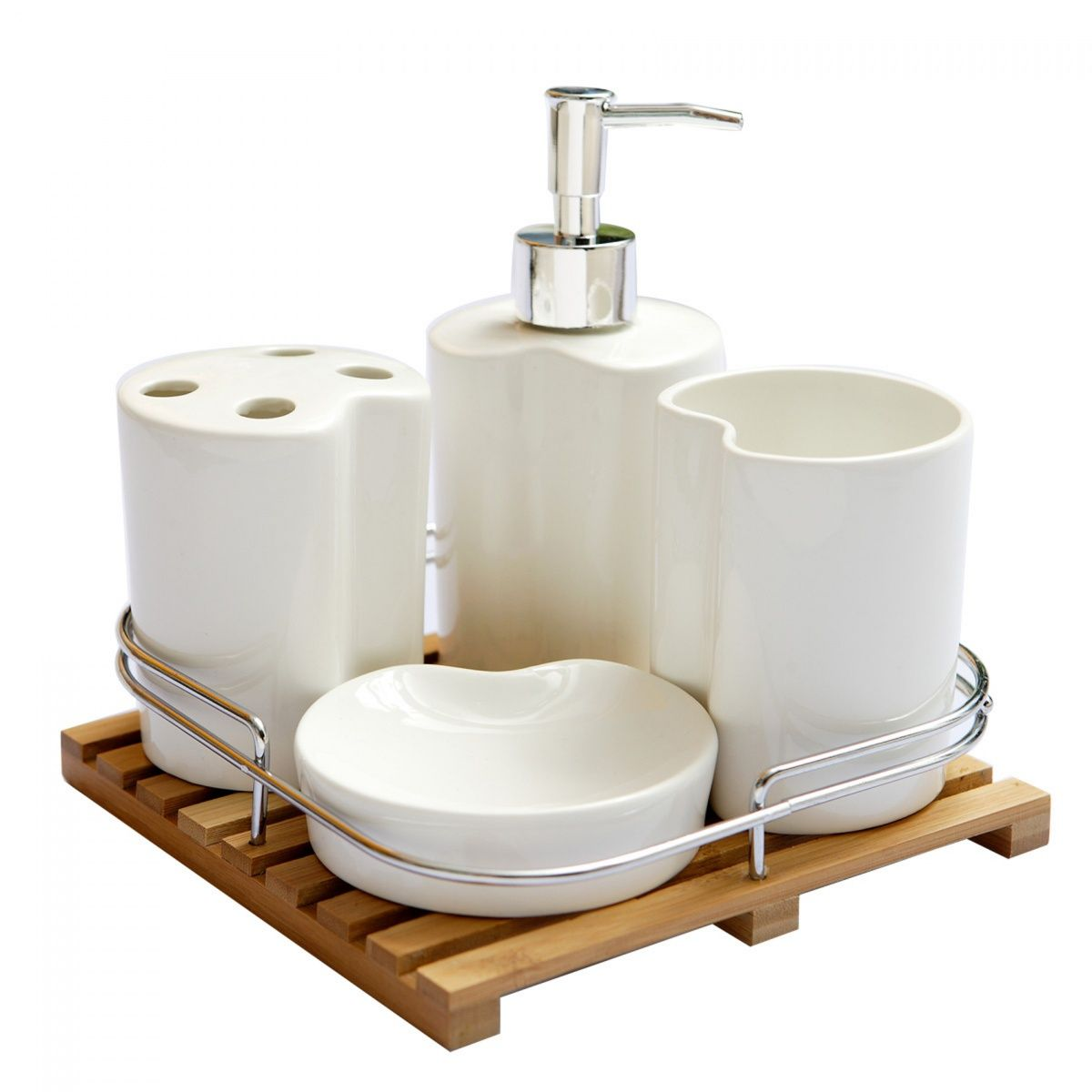 Bamboo bathroom accessories set bamboo tray accessories white ...