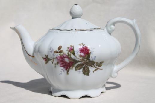 antique dishes rose pattern teapots vintage moss rose. Black Bedroom Furniture Sets. Home Design Ideas