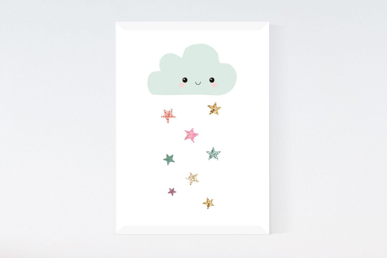 Cloud Rain Colourful Cute Cartoon Nursery Bedroom Wall Decor Art Poster Print