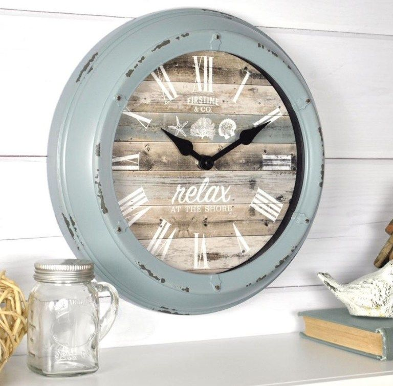 Firstime pierside aged teal wall clock00255 the home