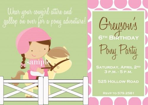 Pony equestrian themed girl birthday party invitation personalized pony birthday party invitation filmwisefo Images