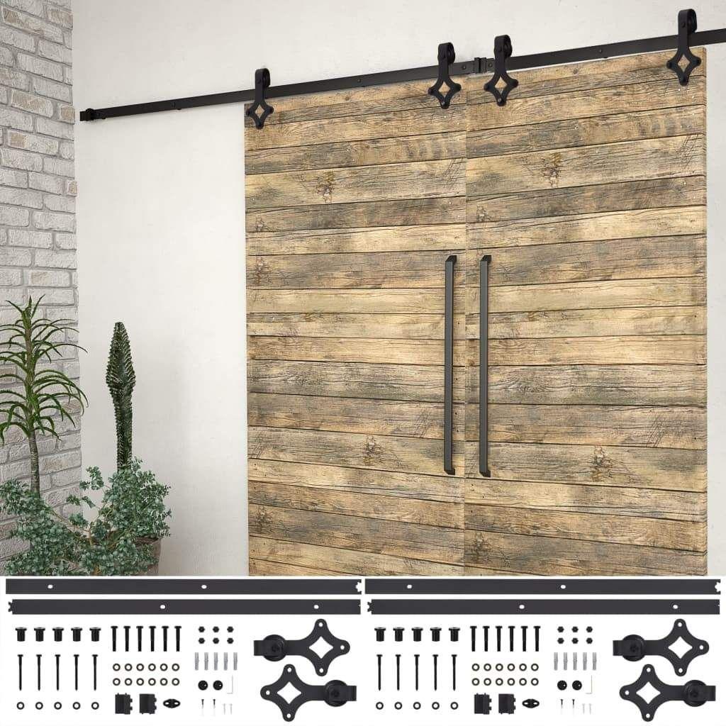vidaXL Sliding Door Hardware Kits 2 pcs 183 cm Steel Black 3…