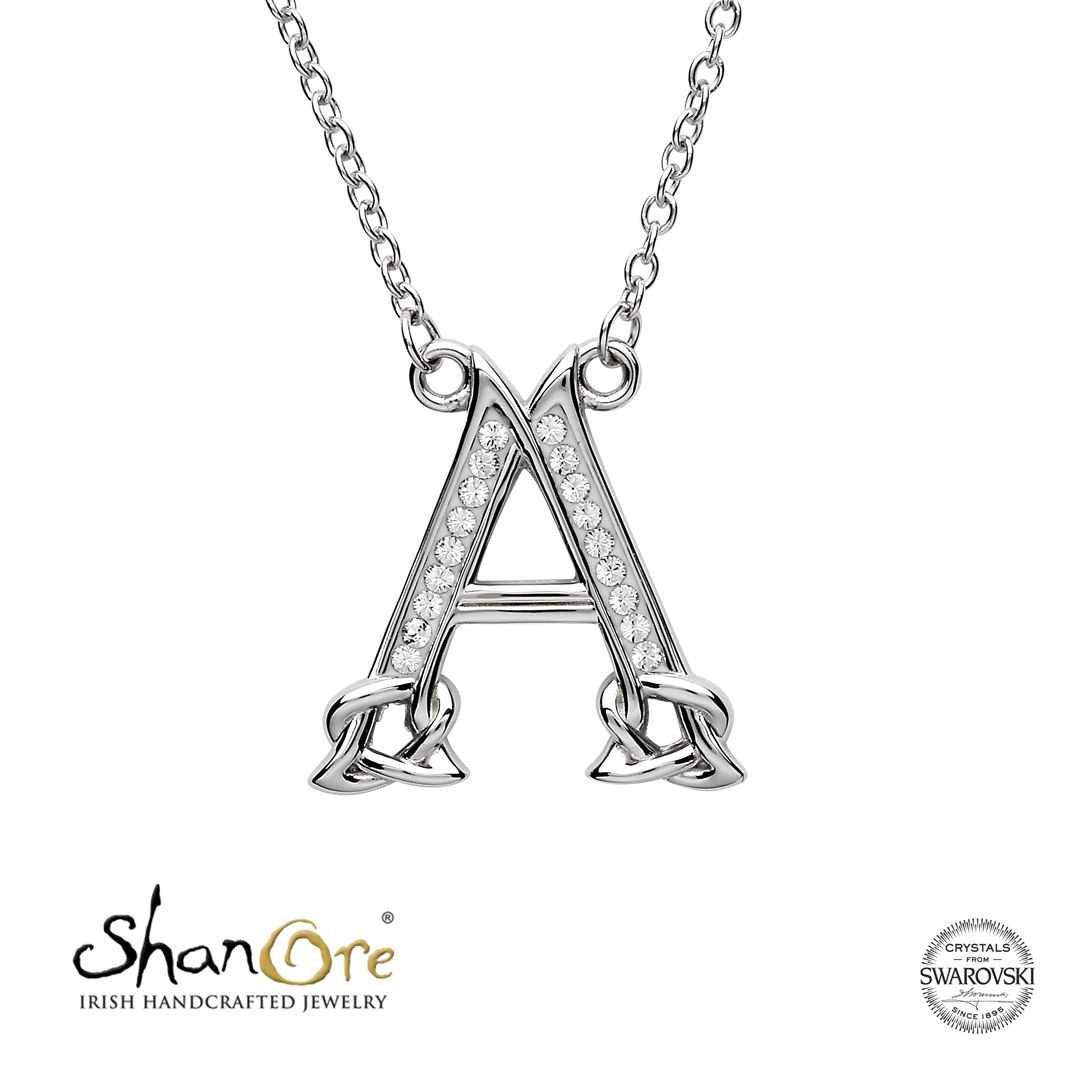 Silver initial a adorned with white swarovski crystal by shanore
