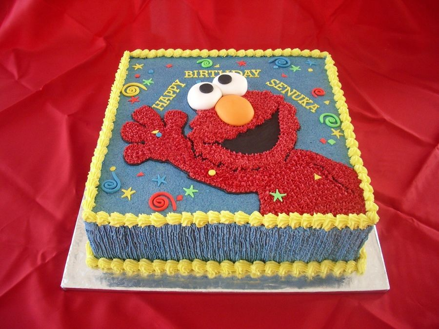 Ribbon Cake With Butter Cream Icing Elmo Was Traced On