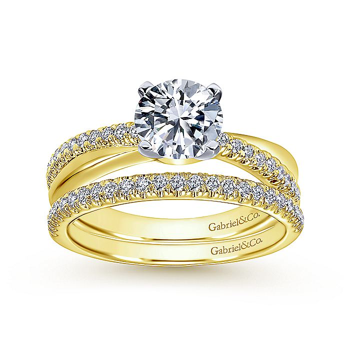 14K WhiteYellow Gold Round Diamond Twisted Engagement