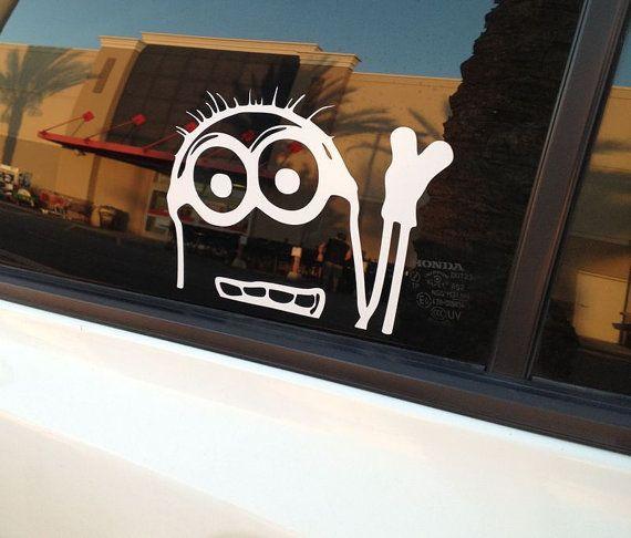 Minion Despicable Me Peeking Window Vinyl Decal Sticker JDM Bear - Minion custom vinyl decals for car