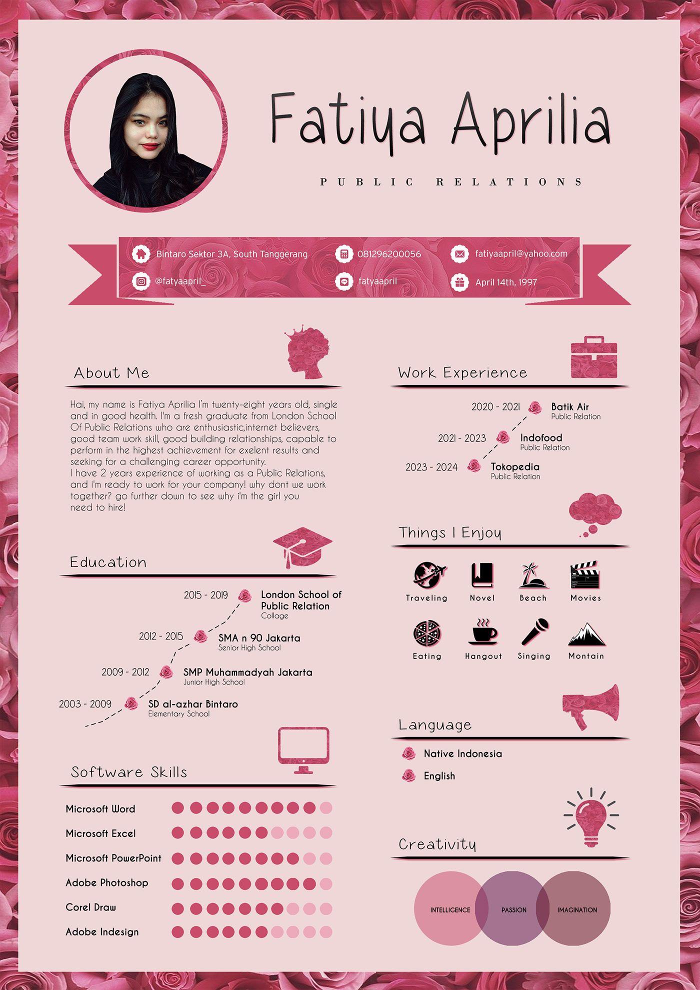 Cv Resume Design On Behance Desain Resume Desain Cv Cv Kreatif