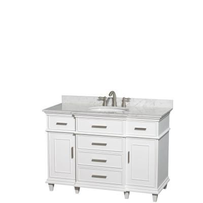 Wyndham Collection Berkeley 48 in Vanity in White with Marble