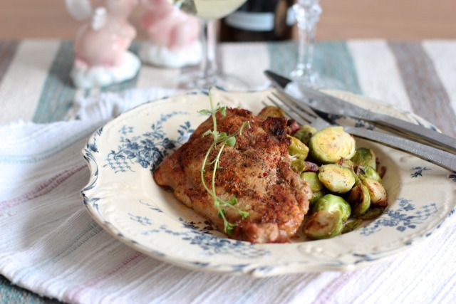 Oven Baked Pork Chops w/ Brussel Sprouts