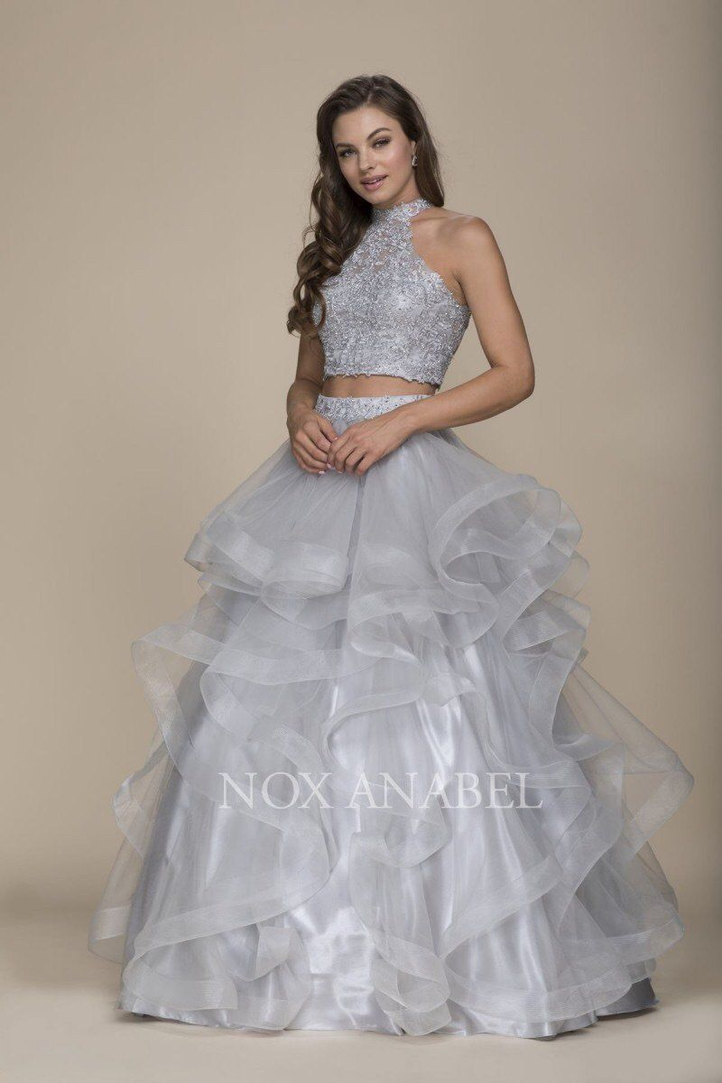 Breathtaking gray piece prom dress