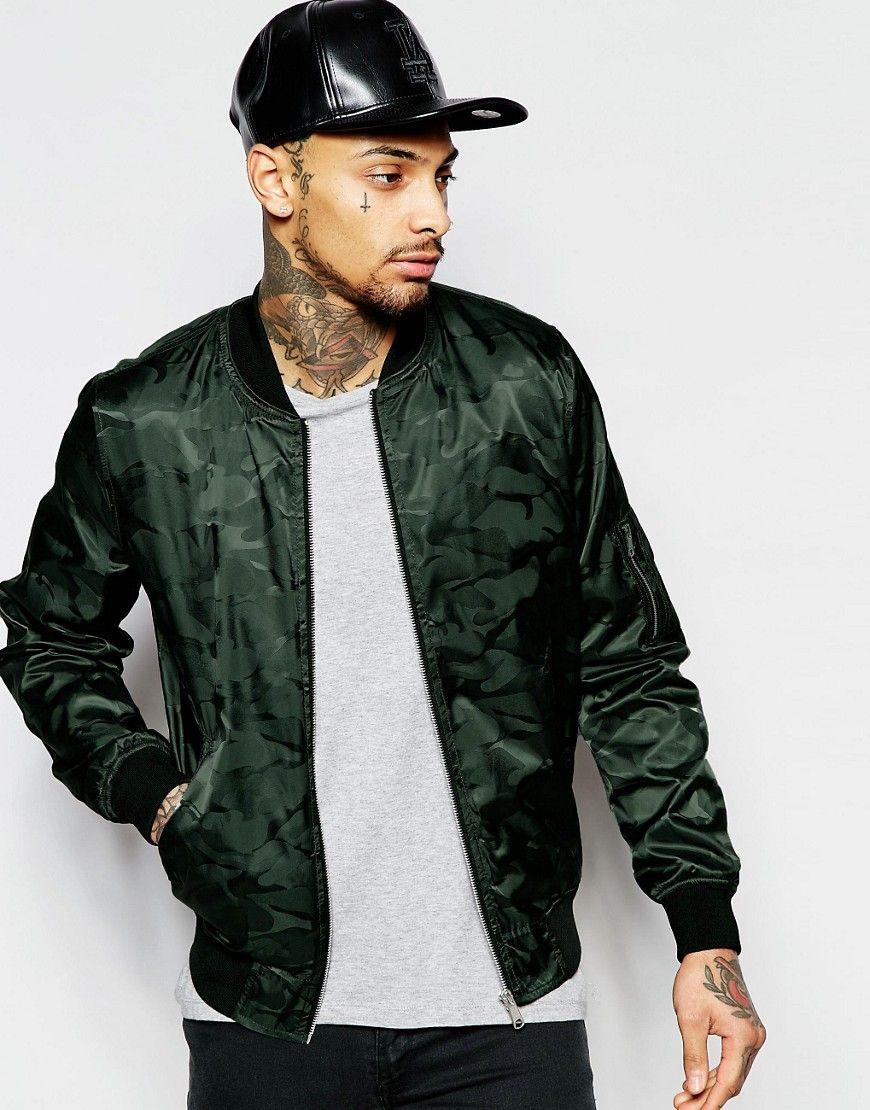 Bomber Jacket In Camo Print   Bomber jacket, Bomber jacket