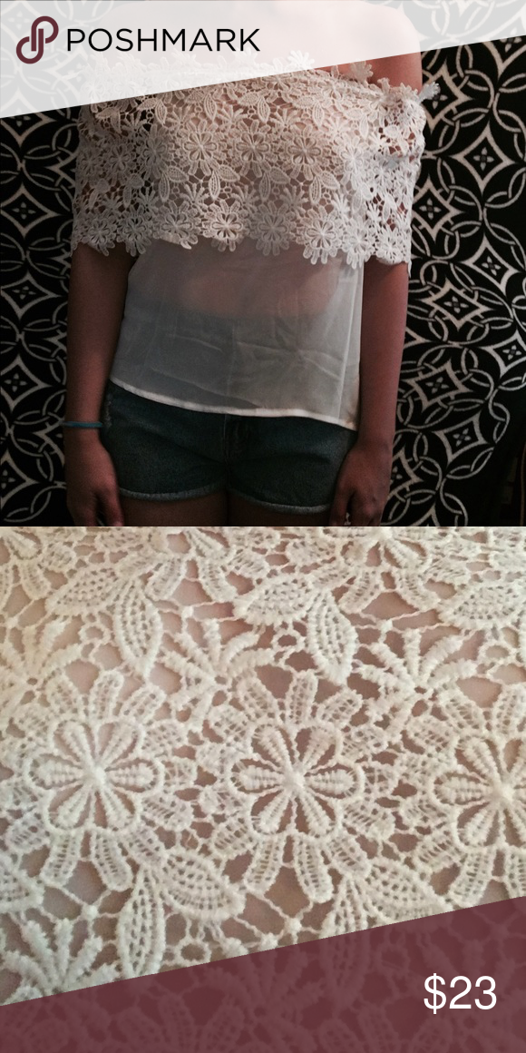 Sheer, lace off the shoulder shirt. Pair this sheer, lace off the shoulder shirt with a pair of high waisted shorts and wedges or a maxi skirt for the perfect summer date night outfit! Bought as a M, fits more of a small. Very sheer! Tops Crop Tops
