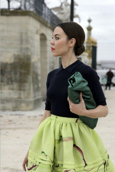 styling a black velvet top (jacket) over a pastel silk embroidered or printed skirt - from Russian fashion designer & photographer Ulyana Sergeenko