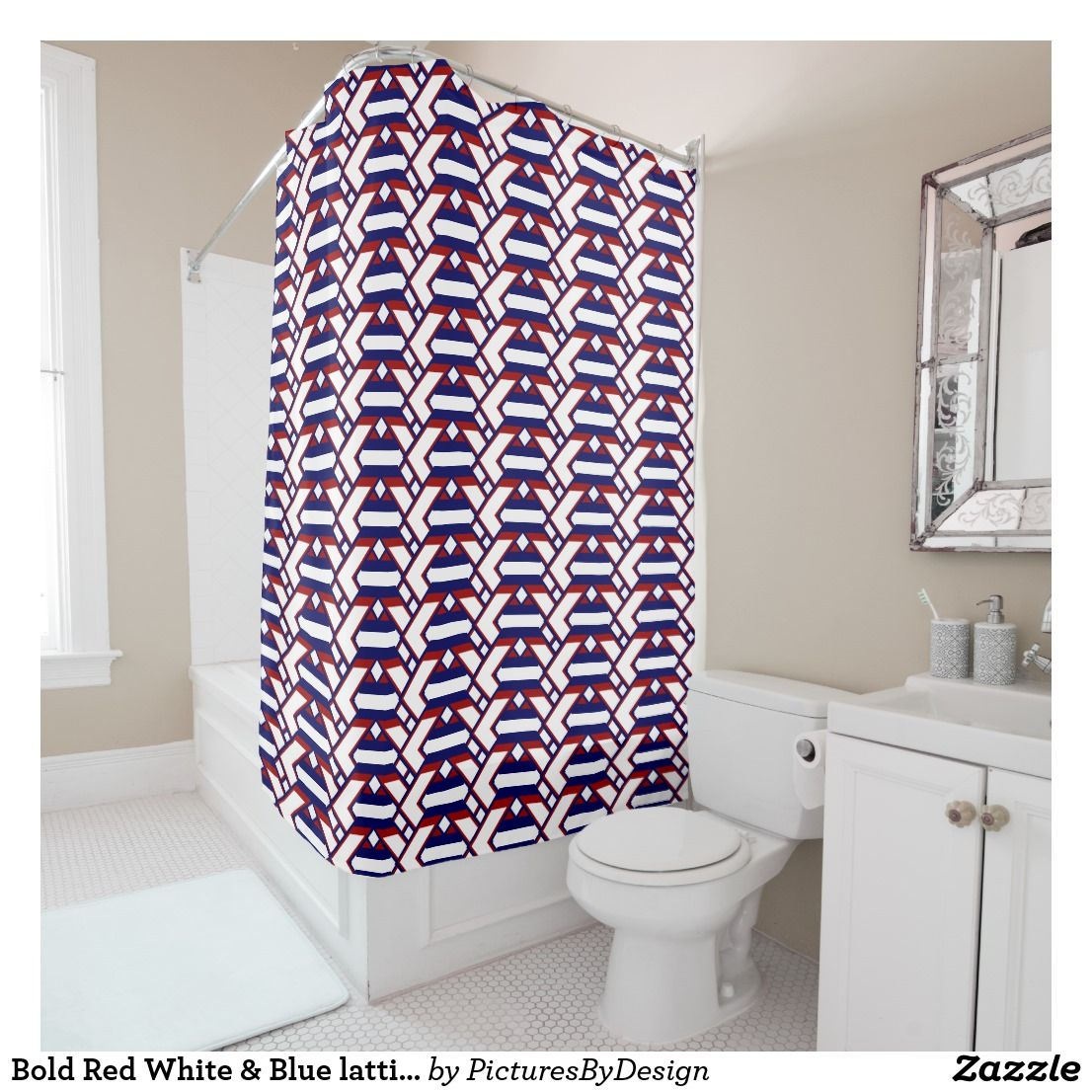 Bold Red White Blue Lattice Work Design 2 Shower Curtain