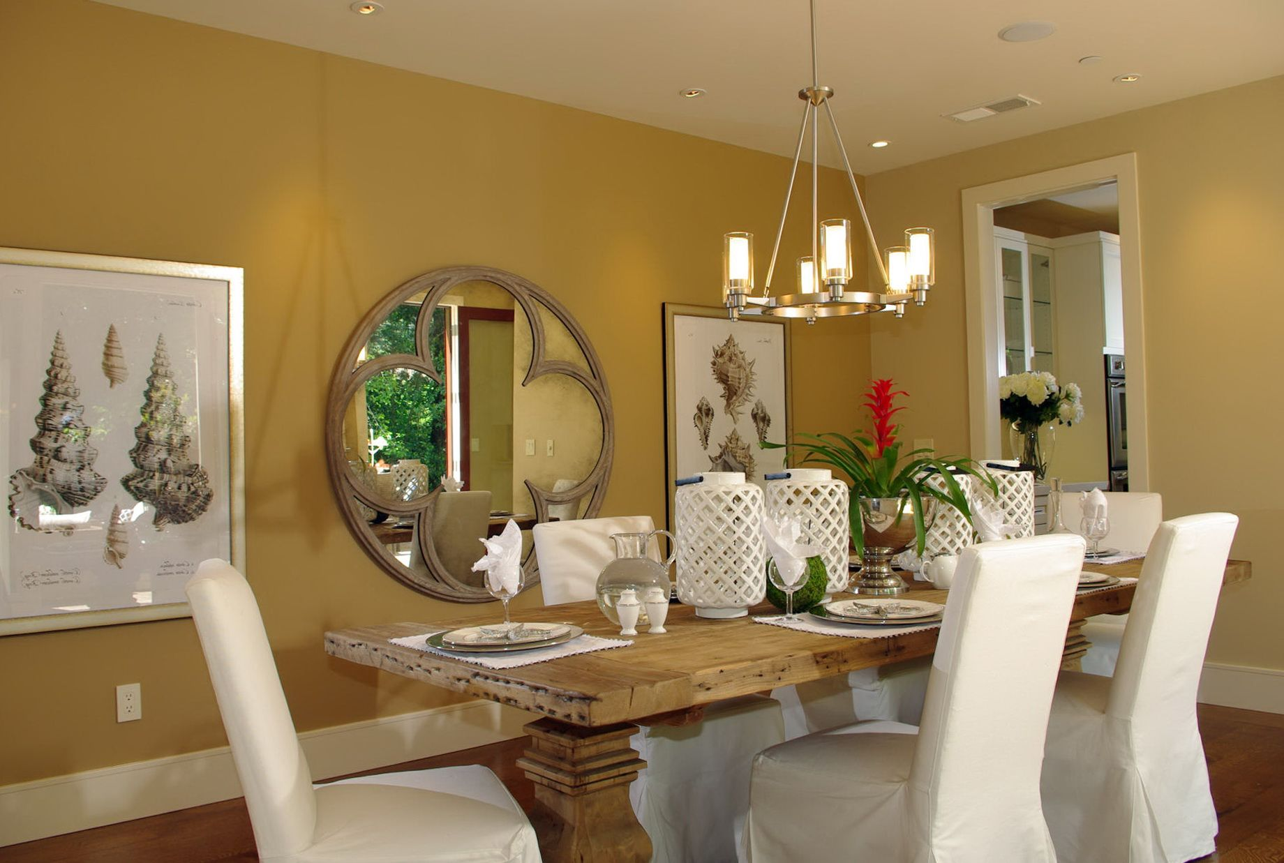 Perfect Beautiful Formal Guest Dining Room Decorating Ideas With The Captivating  Round Mirror Wall Mounted Decorative And Awesome Design