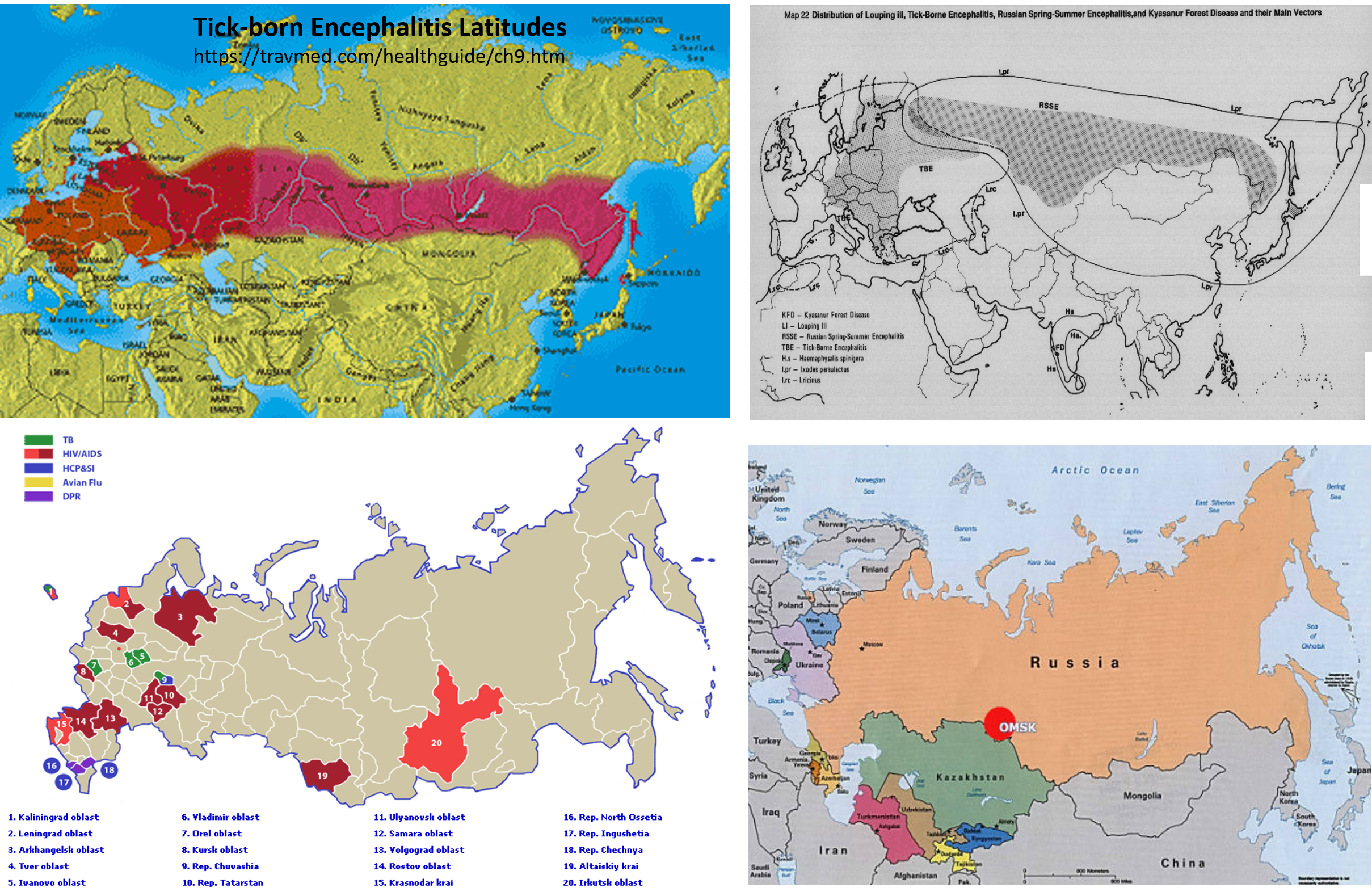 Monitoring the geography, natural ecology, and human ecology of Russian born diseases.  The maps depict:  upper left: a latitude defined Russian born tick disease.  upper right: tick born encephalitis [WHO, 1989].  lower left: distribution of common population related infectious diseases. Lower right: the nidus for Omsk Fever.