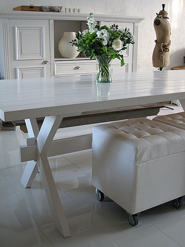 White Lacquered Picnic Table Dining Room Design Dining Room Table Home