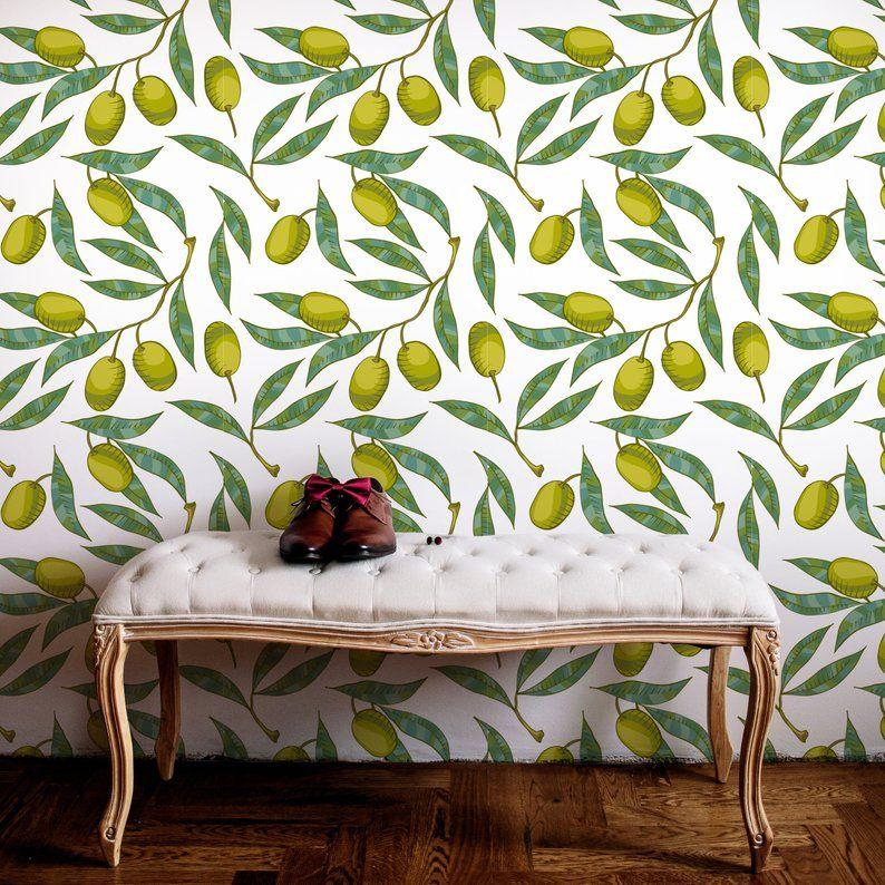 Olive Tree Peel Stick Wallpaper Botanical Self Adhesive Etsy Temporary Wall Decor Wall Decor Temporary Wall