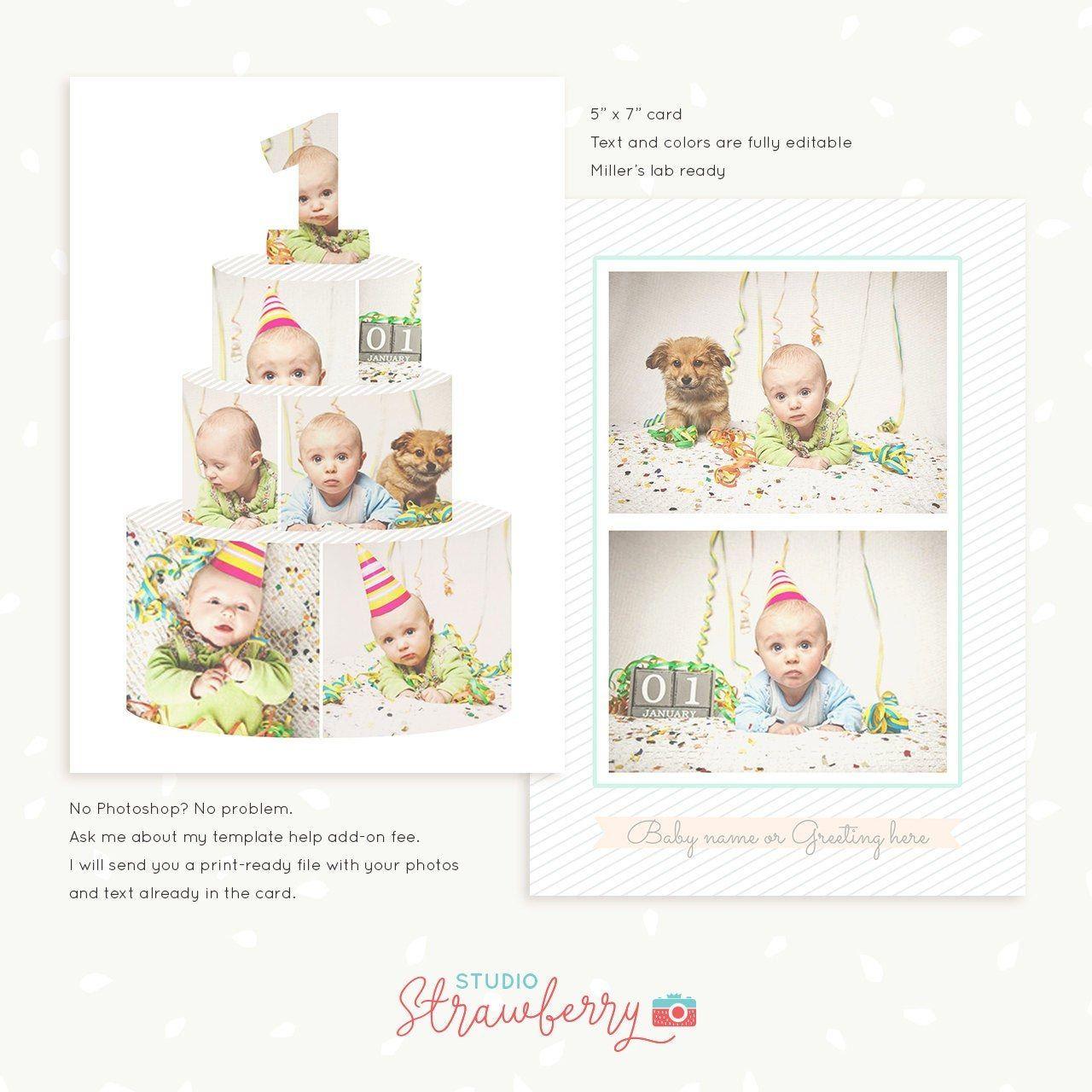 First Birthday Card Template Birthday Cake Collage Cake Etsy Intended For Birthday Card Collage Te Birthday Collage Birthday Card Template First Birthday Cards