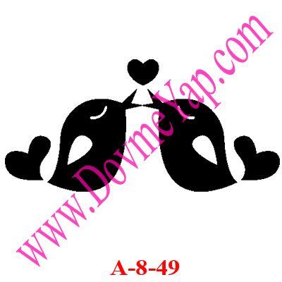 Kalp ve Kuş Simgesi Geçici Dövme Şablon Örneği Model No: A-8-49