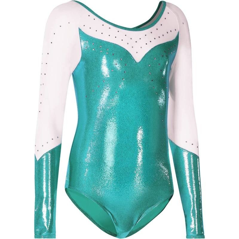 Justaucorps manches longues Gym Fille (GAF) paillettes strass voile ... 95b76ff5070