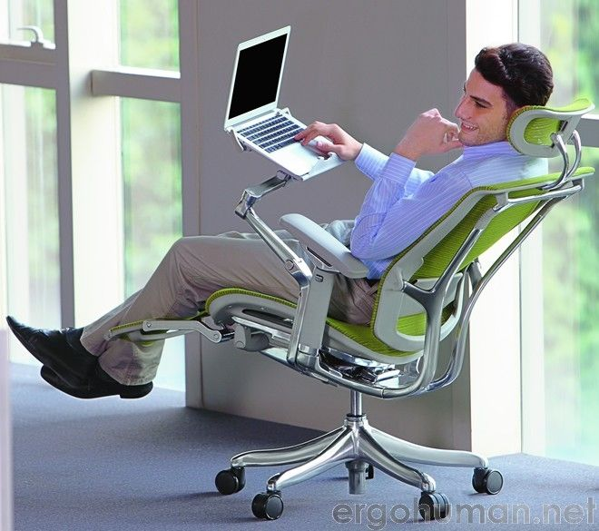 ergonomic chair with leg rest hand painted wooden chairs nefil office support and laptop table articulated arm