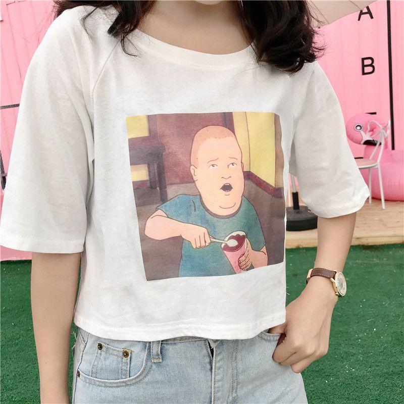 Short Style Harajuku Tops Fashion Funny Printed T-shirt Casual College O-Neck Tee New Style Confortable Women Kawaii Chic Tshirt