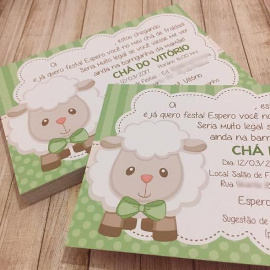 Convites De Chá De Bebê Ovelhinha Modelo De Cartão Com Fundo Verde