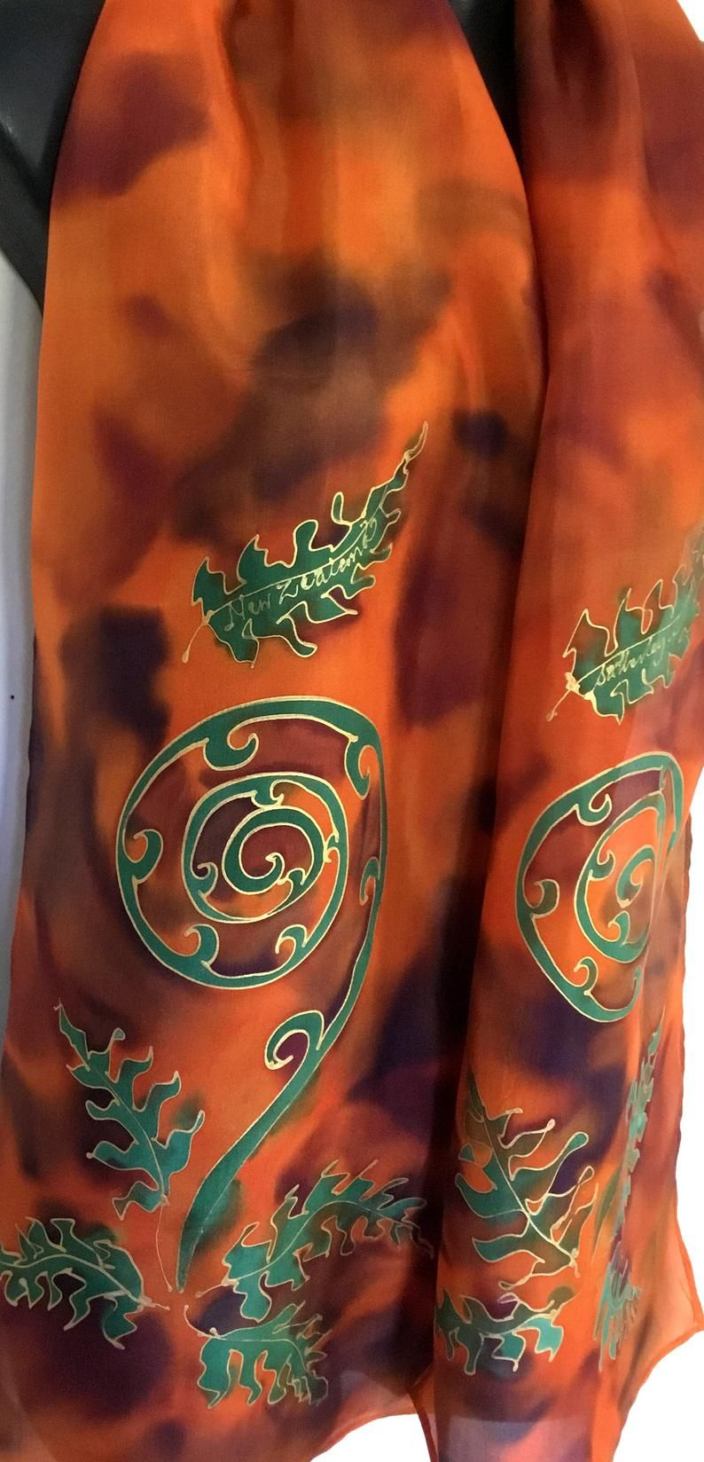 Orange Gold Handpainted SILK SCARF, New Zealand Koru, Tree Ferns, KIWIANA, Gold outlines, Tawny, Habotai Silk, 28 x 150cm, Handmade Gift