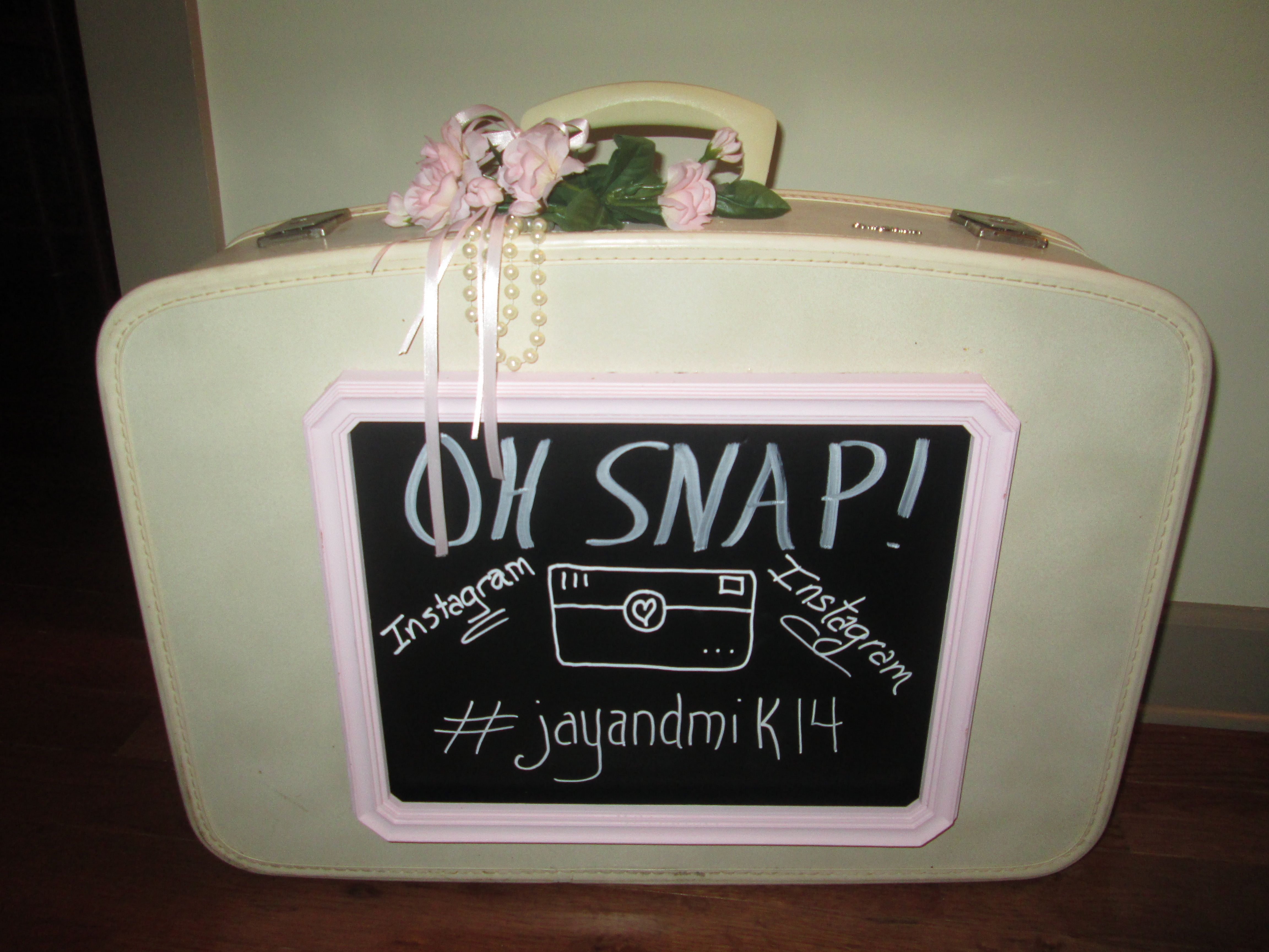 DIY Vintage Suitcase Chalkboard for Wedding... made this for our daughters wedding at Dellwood Plantation    www.facebook.com/junkatiques    www.dellwoodplantation.com   vintage/suitcase/pearls/lace/pink/chalkboard/recycle/repurpose/wedding/plantation