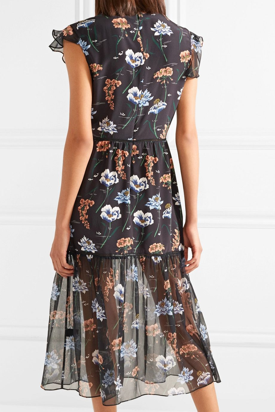 Belle Floral-print Silk Crepe De Chine And Chiffon Midi Dress - Black Markus Lupfer hT26j